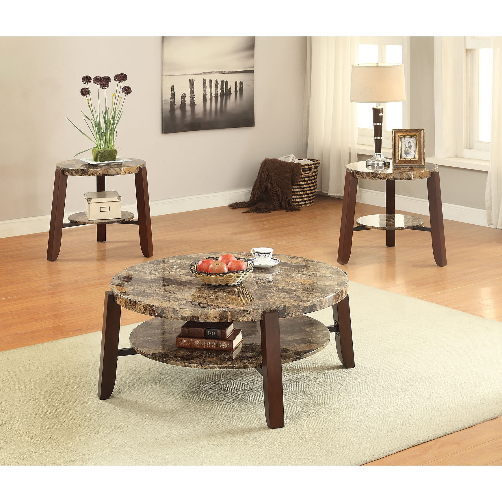 Lilith Faux Marble and Cherry Coffee Table (Faux Marble &...