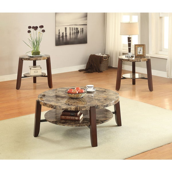Faux White Marble Coffee Table Set: Shop Lilith Faux Marble And Cherry Coffee Table
