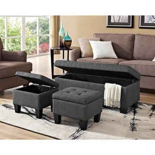 Picket House Everett 3pk Storage Ottoman in Charcoal