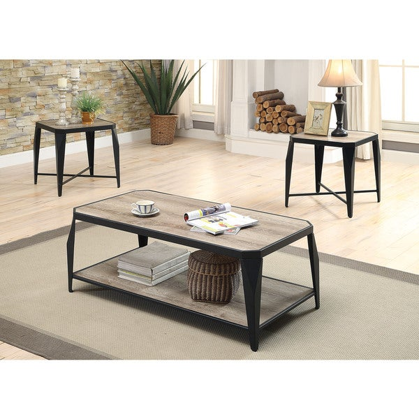 Oldlake Antique Light Oak/Black MDF/Metal Coffee/End Table 3 Piece