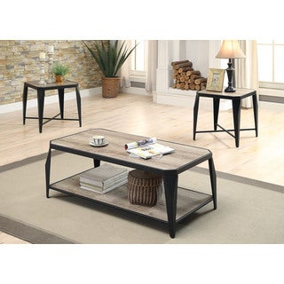Oldlake Antique Light Oak/Black MDF/Metal Coffee/End Table 3-piece Set