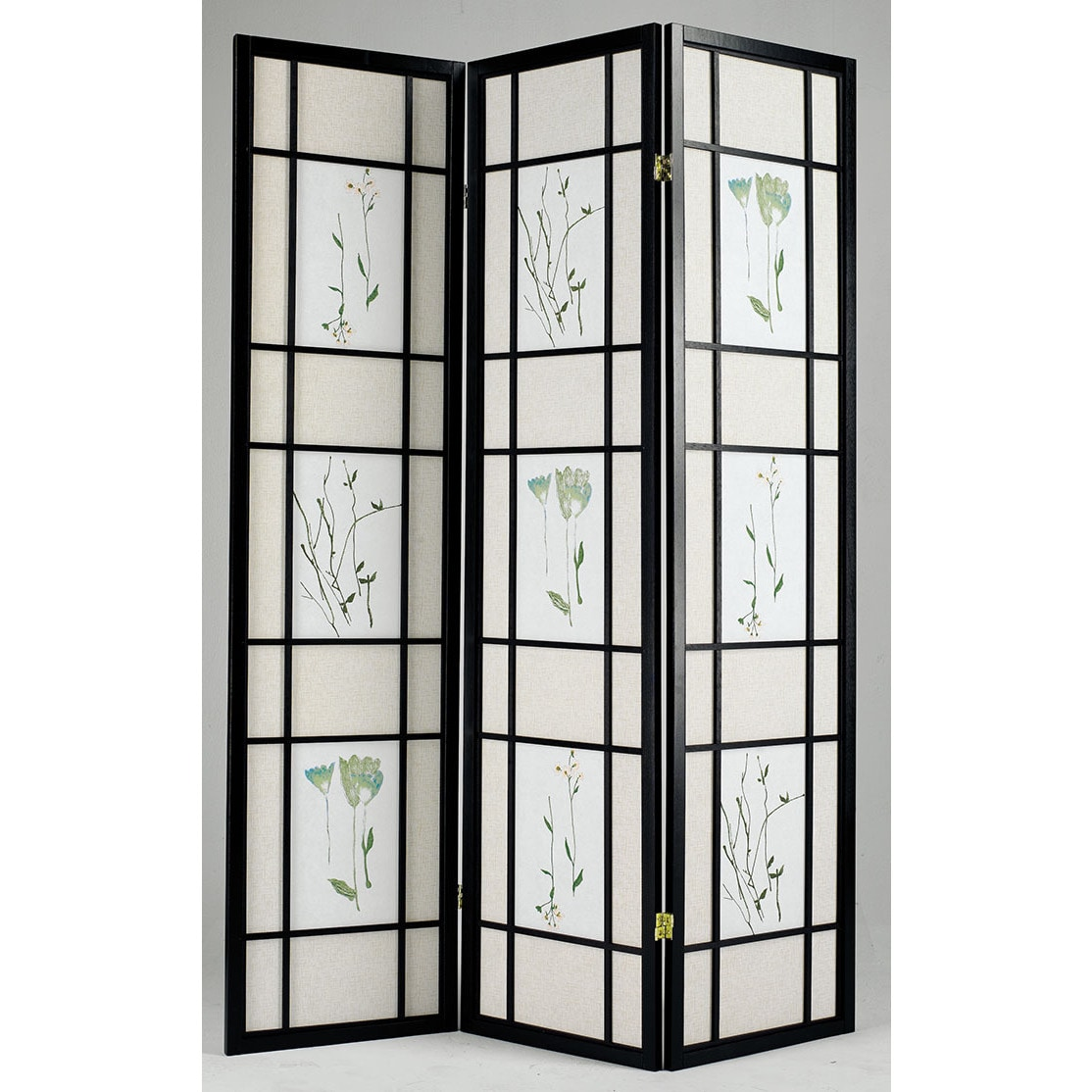 "ACME Lola Black Wood 3-panel Privacy Screen (Black, 17""L ..."