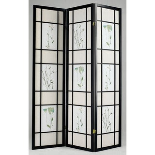 Lola Black Wood 3-panel Privacy Screen