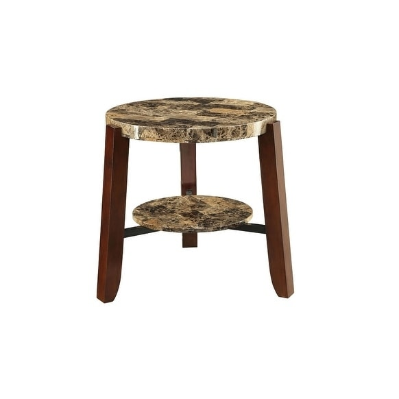 shop acme lilith faux marble end table free shipping today 12021451. Black Bedroom Furniture Sets. Home Design Ideas