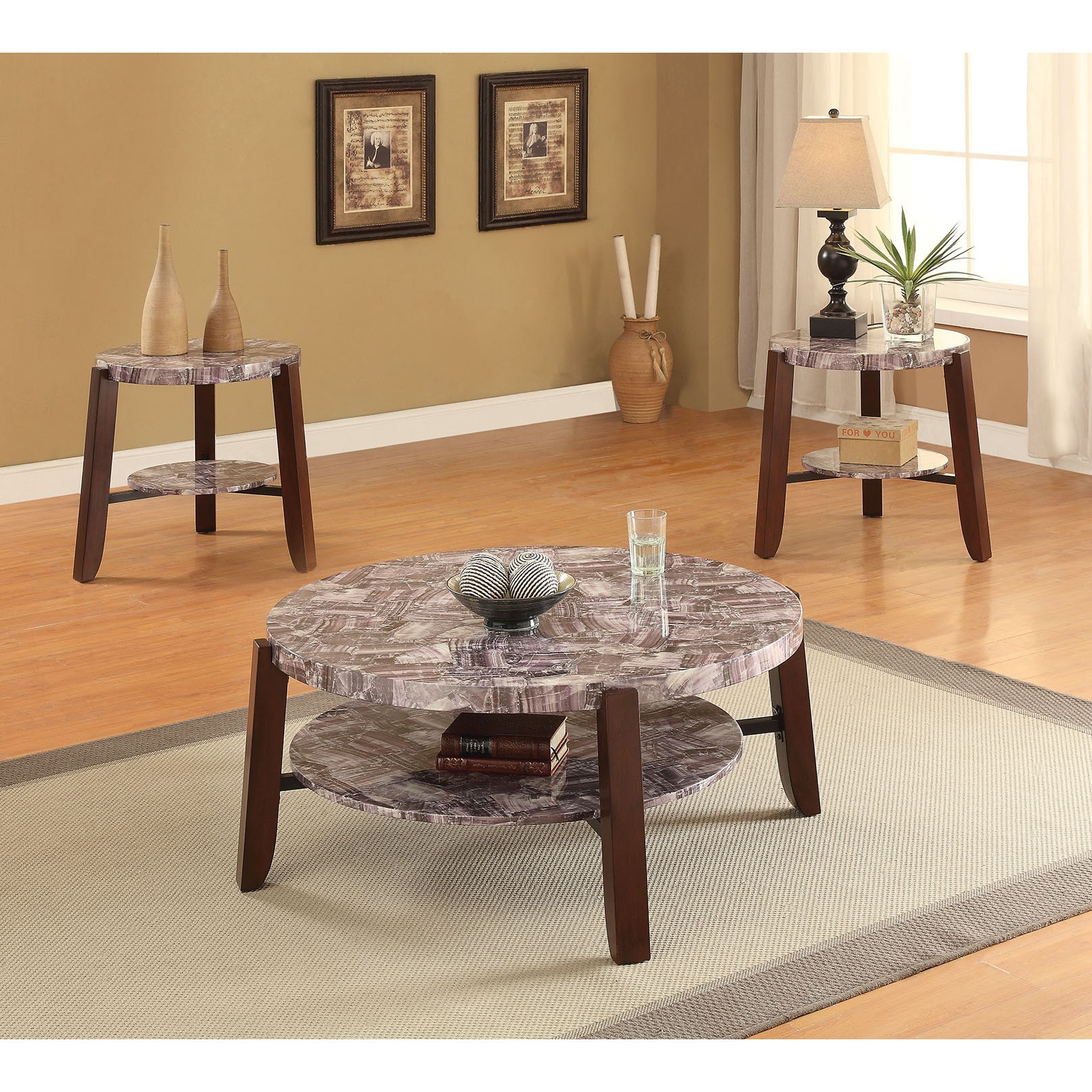 ACME Lilith Faux Marble and Cherry Coffee Table (Faux Mar...