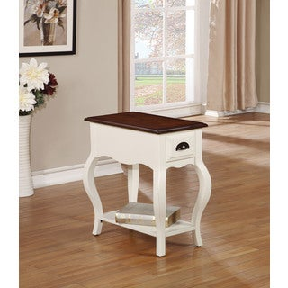 Woaton Antique White and Dark Oak MDF and Veneer Side Table