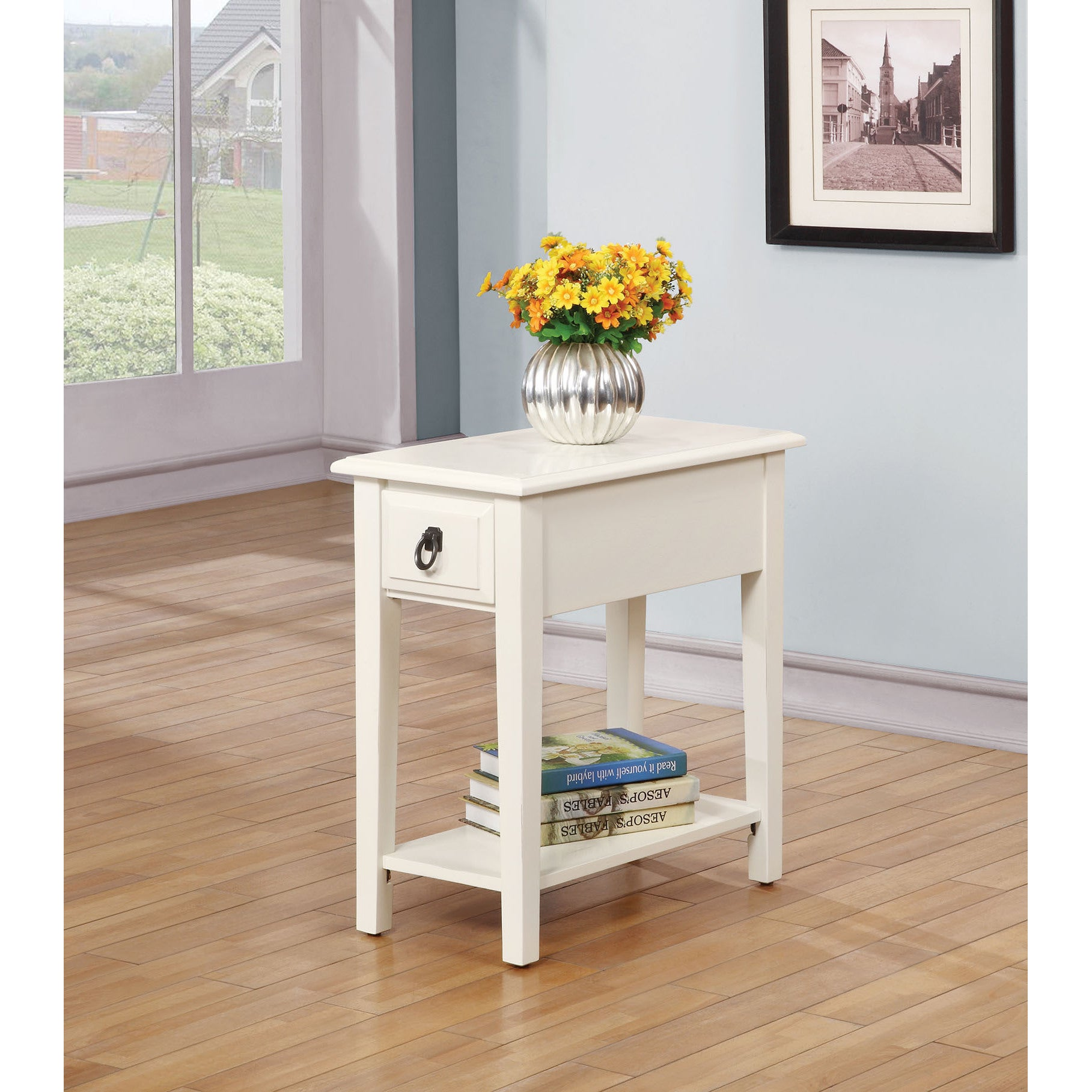 Product Details. End Side Table White Wood Living Room Furniture Rustic Farmhouse