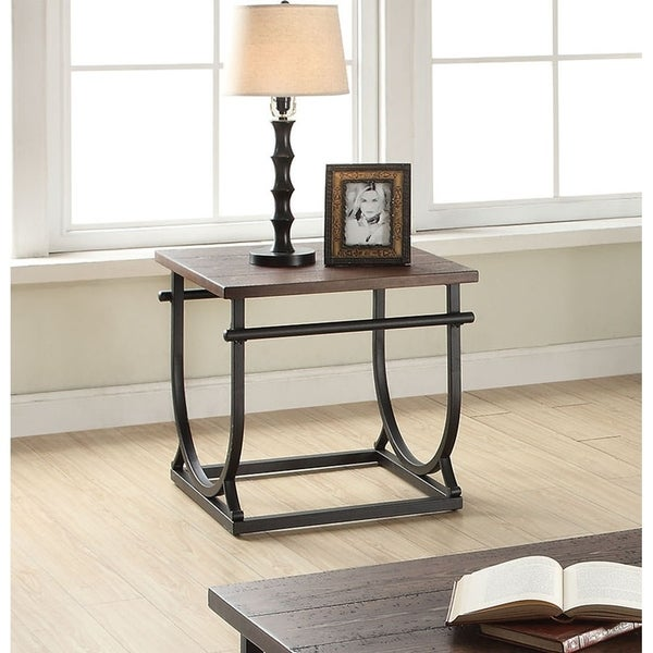 Shop Debbie Cherry Black Wood Metal End Table Free Shipping Today