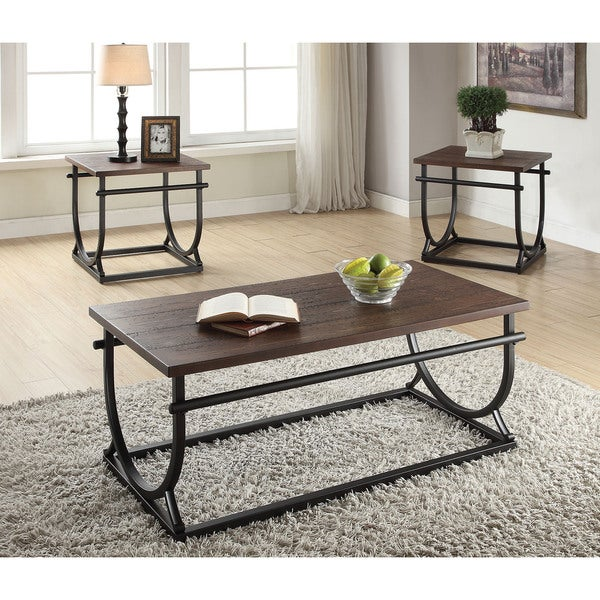 shop debbie cherry black wood metal end table free shipping today 12021469. Black Bedroom Furniture Sets. Home Design Ideas