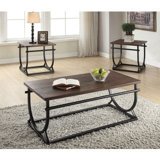 Debbie Cherry and Black Wood and Metal Coffee Table