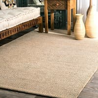 nuLOOM Handmade Flatweave Contemporary Solid Cotton Beige Rug (9' x 12') - 9' x 12'