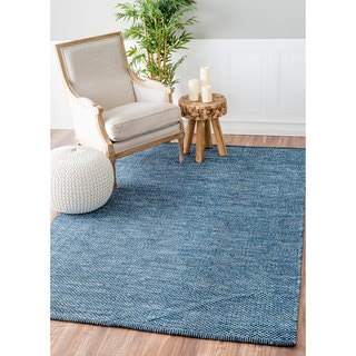 nuLOOM Handmade Flatweave Contemporary Solid Cotton Blue Rug (9' x 12')