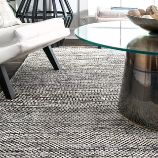 nuLOOM Handmade Flatweave Contemporary Solid Cotton Grey Rug (9' x 12')