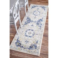 Maison Rouge Oryan Traditional Persian Vintage Blue Runner Rug - 2'8 x 12'