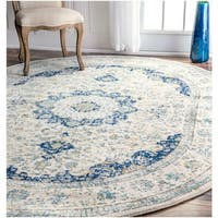 "Maison Rouge Oryan Traditional Persian Vintage Blue Oval Rug - 6'7"" x 9' oval"
