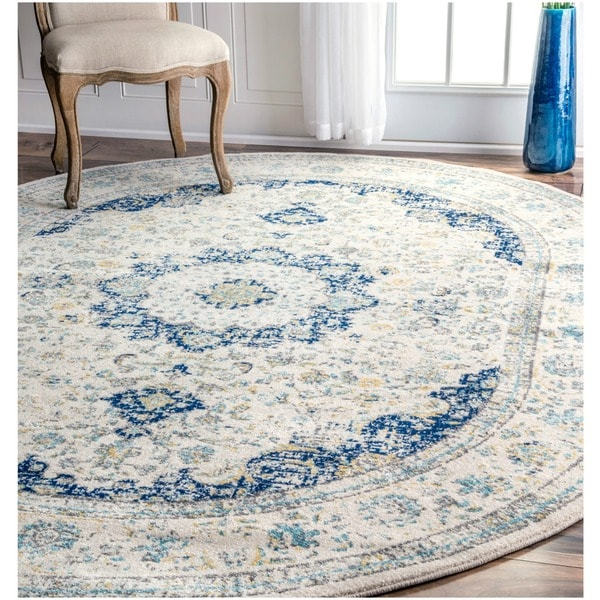 Maison Rouge Oryan Traditional Persian Vintage Blue Oval Rug - 6'7 x 9 Oval
