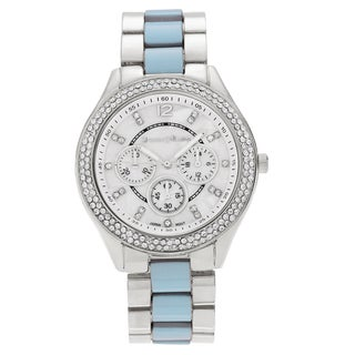 Journee Collection Women's Two-tone Round Rhinestone Link Bracelet Watch