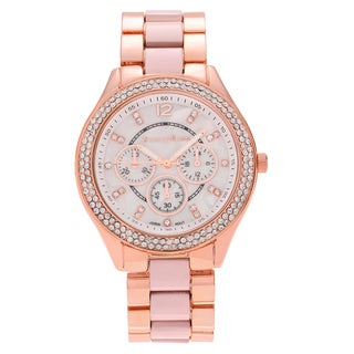 Journee Collection Women's Round Face Rhinestone Two-tone Link Bracelet Watch
