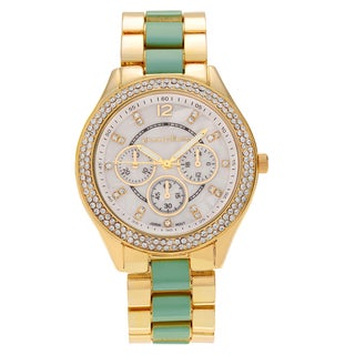 Journee Collection Women's Two Tone Round Rhinestone Link Bracelet Watch