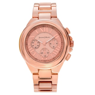 Journee Collection Women's Round Roman Numeral Dial Metal Link Watch