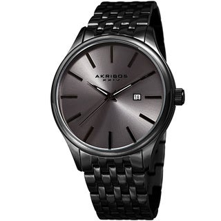 Akribos XXIV Men's Quartz Date Gray Stainless Steel Bracelet Watch
