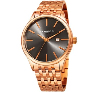 Akribos XXIV Men's Quartz Date Rose-Tone Stainless Steel Bracelet Watch