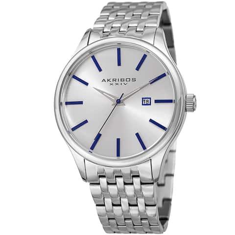 Akribos XXIV Men's Quartz Date Silver-Tone Stainless Steel Bracelet Watch