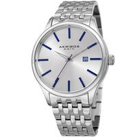 Akribos XXIV Men's Quartz Date Silver-Tone Stainless Steel Bracelet Watch