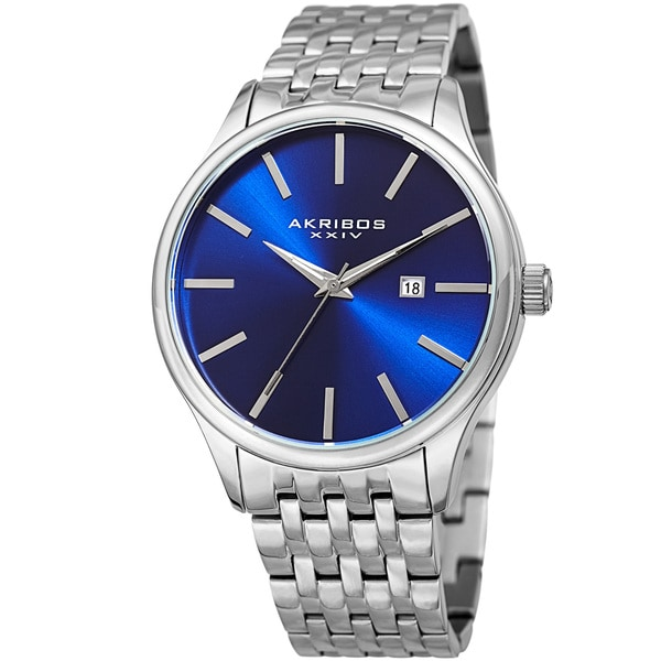 Akribos XXIV Men's Quartz Date Silver-Tone/Blue Stainless Steel Bracelet Watch