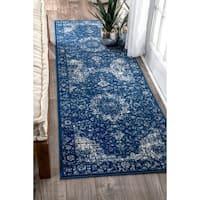 Maison Rouge Khalil Traditional Persian Vintage Dark Blue Runner Rug (2'8 x 8')