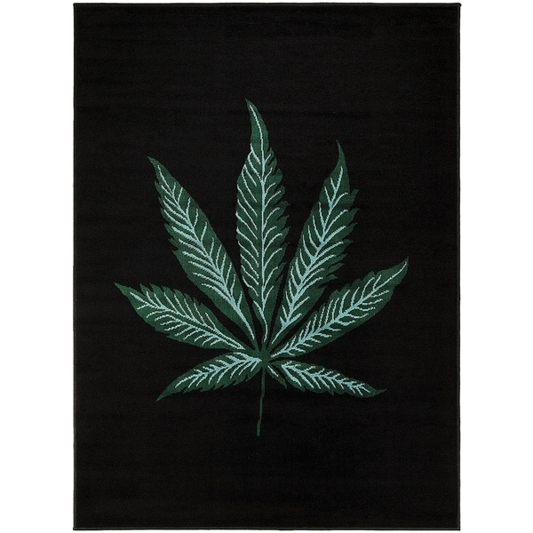 LYKE Home Mary Jane Black/Green Olefin Woven Rug (5' x 7')