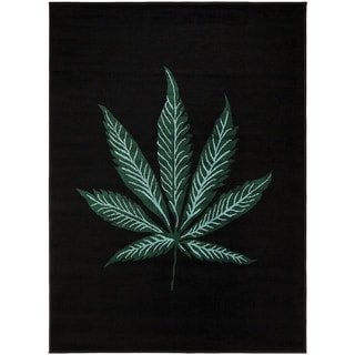 LYKE Home Mary Jane Black/Green Olefin Machine-made Woven Rug (5' x 7')