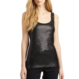 Elie Tahari Women's Nancy Black Modal Sequin Knit Tank Top