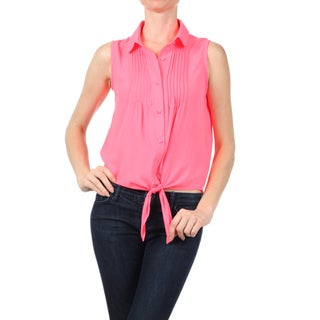 MOA Collection Women's Semi-sheer Button-down Sleeveless Top