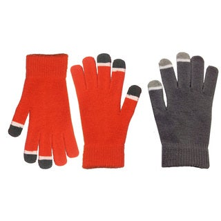 MinxNY Unisex Grey and Orange Touch-screen Gloves (Set of 2)