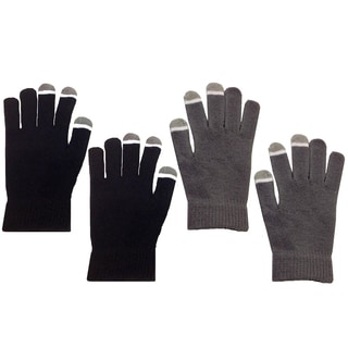 MINXNY Black/Grey Unisex Touch-screen Gloves (Set of 2)