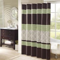 Madison Park Lindan Green Embroidered Shower Curtain