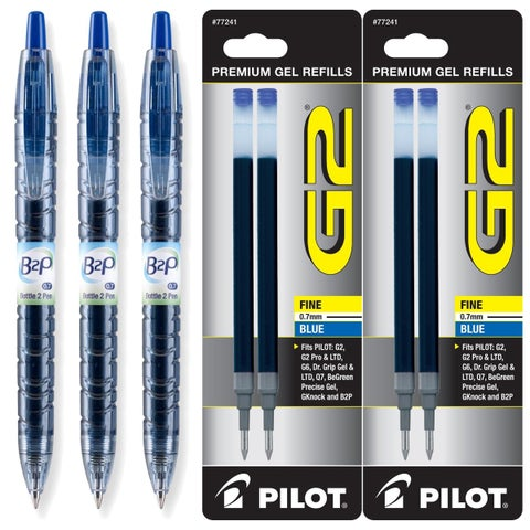 Pilot B2P Blue Ink Retractable Fine 0.7mm Gel Ink Pens (Pack of 3)