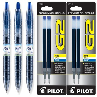 Pilot B2P Blue Ink Retractable Fine 0.7mm Gel Ink Pens (Pack of 3)