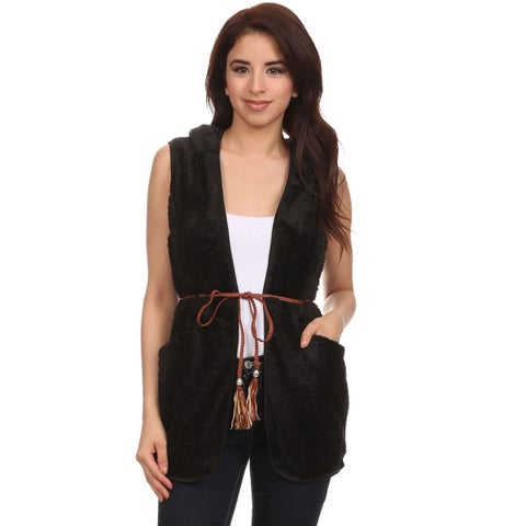 MOA Collection Women's Faux Fur Sleeveless Hoodie Sweater