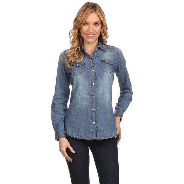 0ad7feeb Shop MOA Collection Women's Denim Button-up Shirt - Free Shipping ...