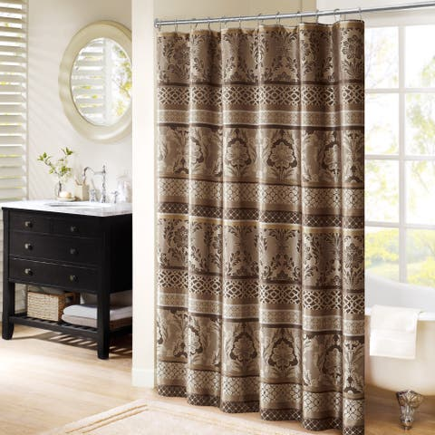 Madison Park Venetian Taupe Jacquard Shower Curtain (As Is Item)