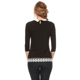 MOA Collection Women's Solid Collared-neck Top