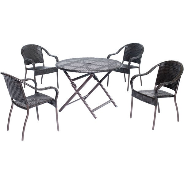 Hanover Outdoor ORLDN5PC-BRN Orleans 5-piece Dining Set with 40-inch Round Table