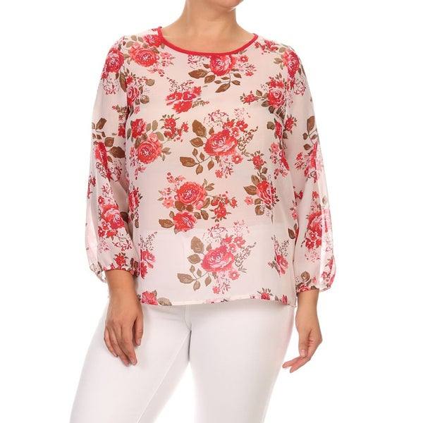 MOA Collection Women's Plus Size Floral Chiffon Top