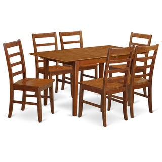 PSPF7-SBR-W Natural Rubberwood 7-piece Set with Leaf Table and 6 Kitchen Chairs