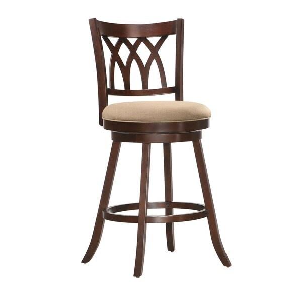 Shop Tabib Espresso Colored Wood Swivel Bar Chair Free