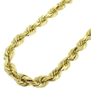 Unisex 14k Yellow Gold 7.5-millimeter Solid Rope Diamond-cut Chain Necklace