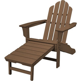 Hanover Outdoor HVLNA15TE Teak All-weather Contoured Adirondack Chair with Hideaway Ottoman