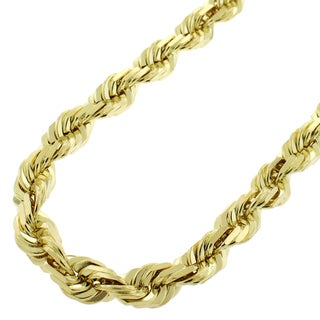 14k Yellow Gold 8mm Solid Rope Diamond-Cut Link Twisted Chain Necklace 34""